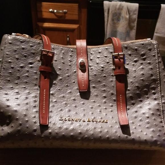 Dooney & Bourke Handbags - Dooney Bourke grey ostrich bag. New condition.